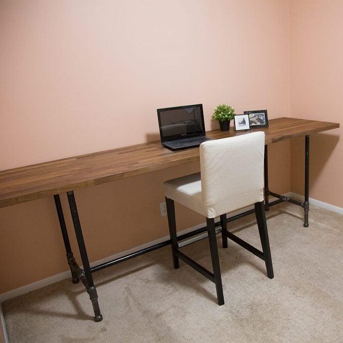 pipe desk finished