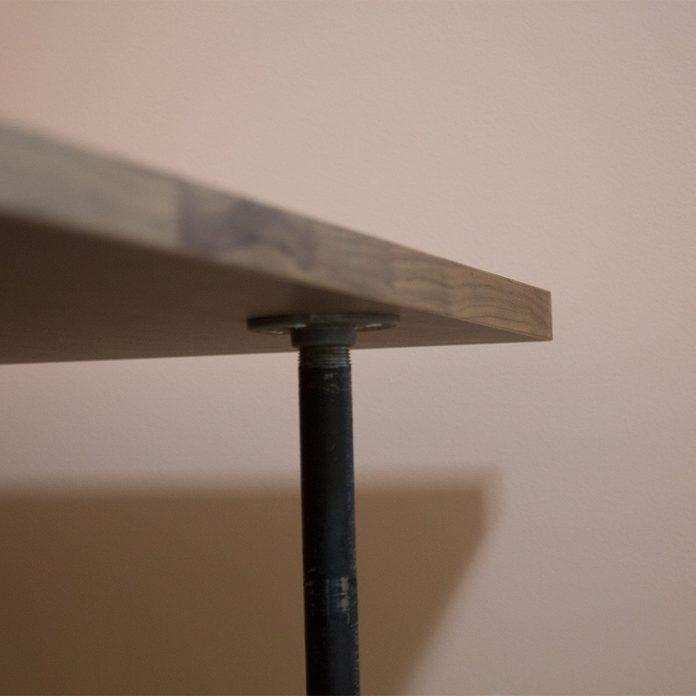 pipe desk detail of countertop