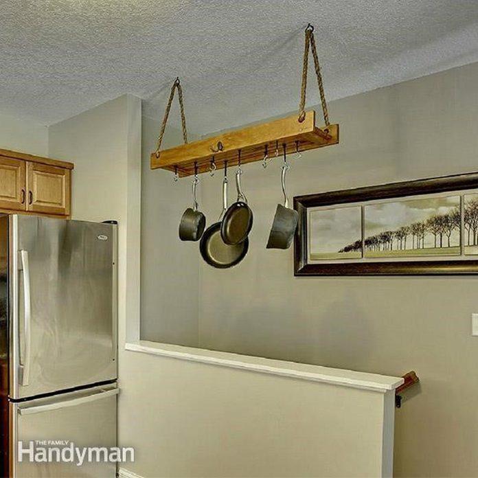 dfh17sep043-05 DIY kitchen pots and pans hanging rack kitchen organization