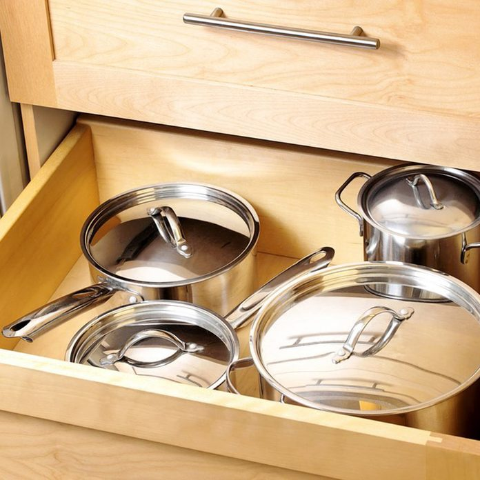 deep drawer storage in kitchen for pots and pans cabinet organizer for pots and pans