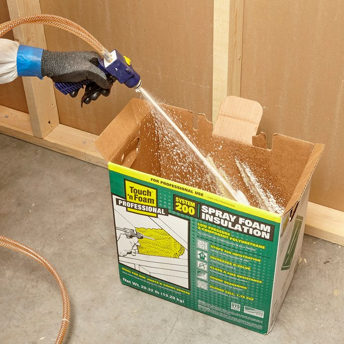 Spraying foam into a box to remove build-up | Construction Pro Tips