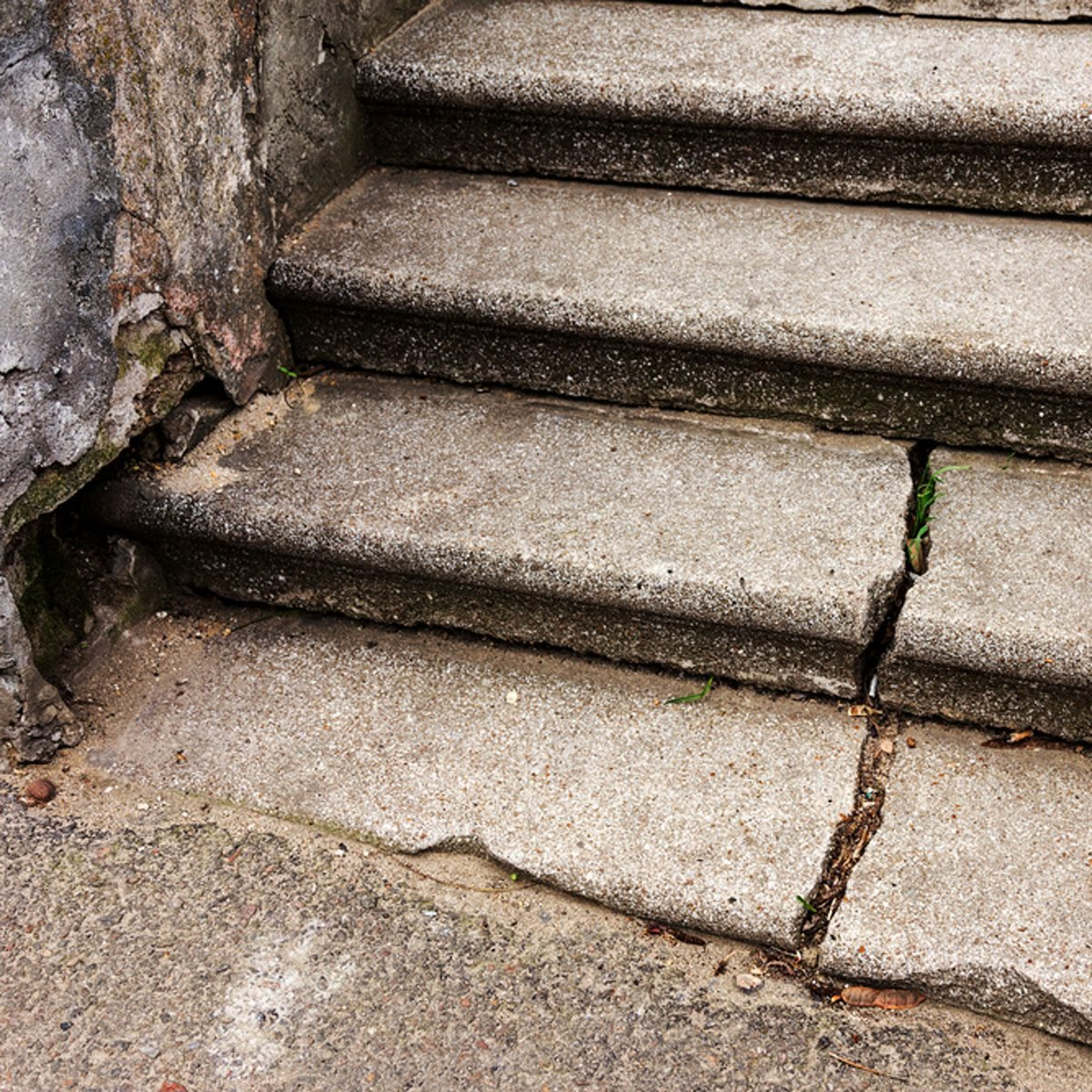Cracked concrete steps