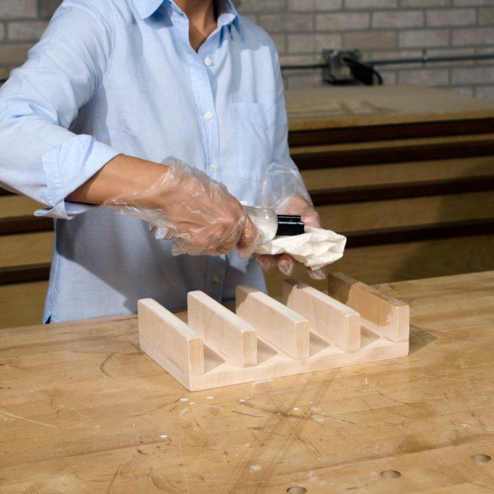 taco holder applying cutting board oil