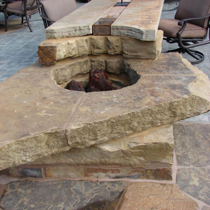 Stone table fire pit