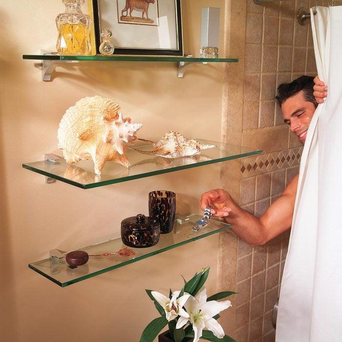 Glass Shelves for Bathroom Storage