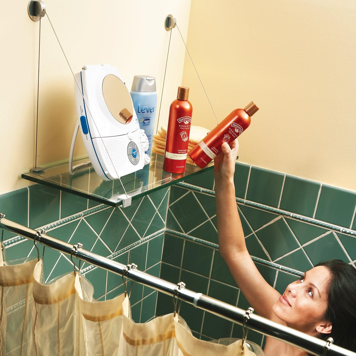 Hang a Glass Shower Shelf