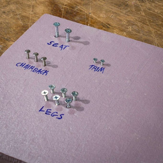 label groups of fasteners in foam