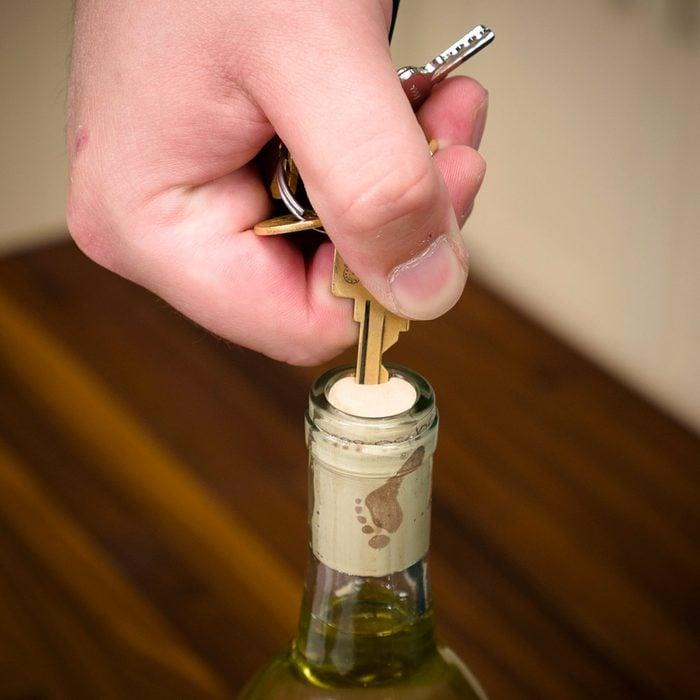 Open Wine Bottle With a Key