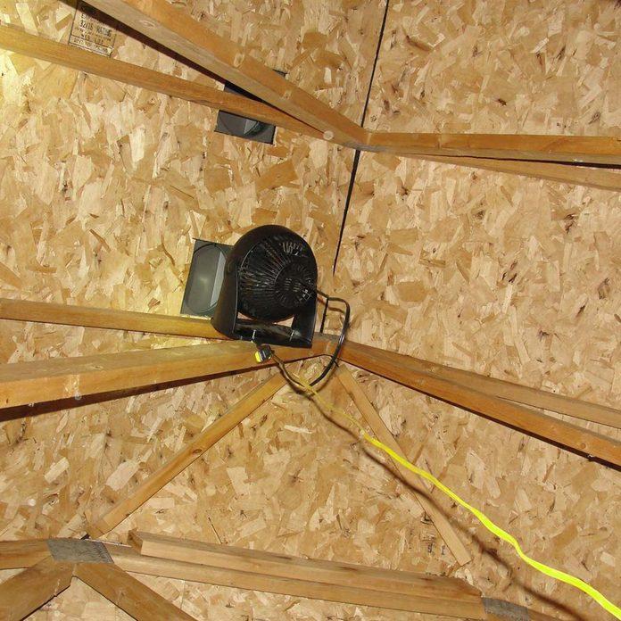 Desk fan attic venting