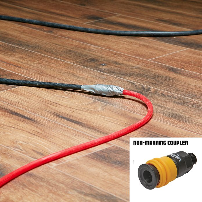 Hose joints covered in duct tape   Construction Pro Tips