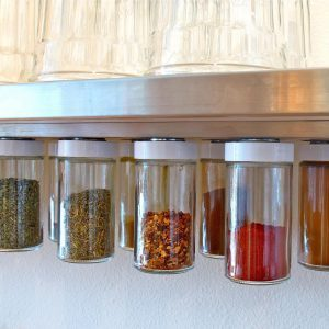 magnetic strip under cabinet shelf for spice storage spice rack ideas diy spice rack