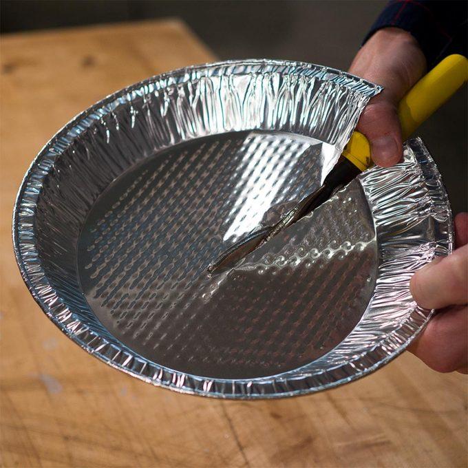cutting pie plate in half