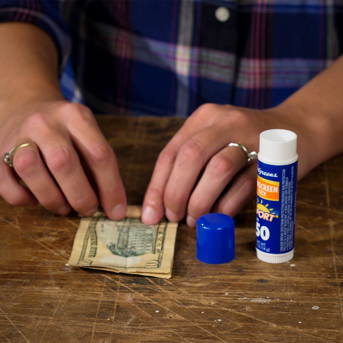 rolling bills for sunscreen cash stash