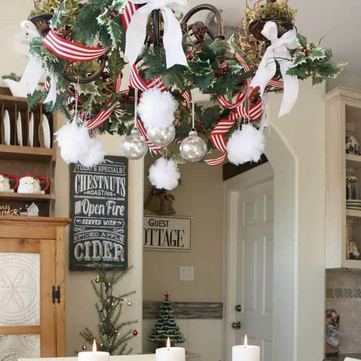 chandelier holly wreath - How To Decorate A Chandelier For Christmas