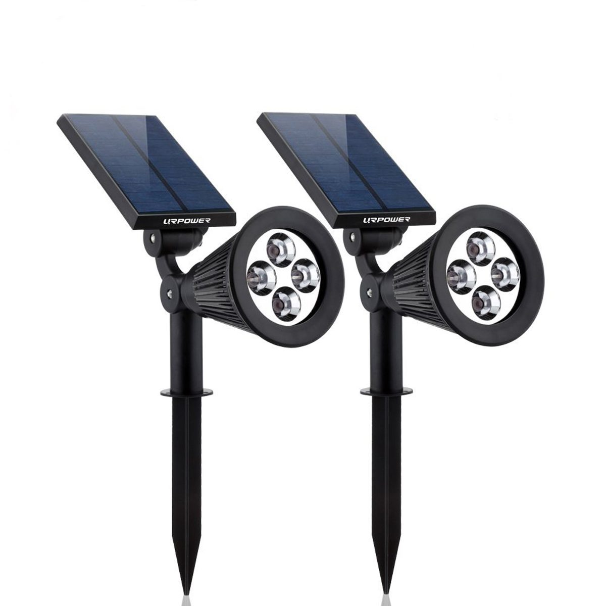 URPOWER 2-in-1 Waterproof 4 LED Solar Spotlight