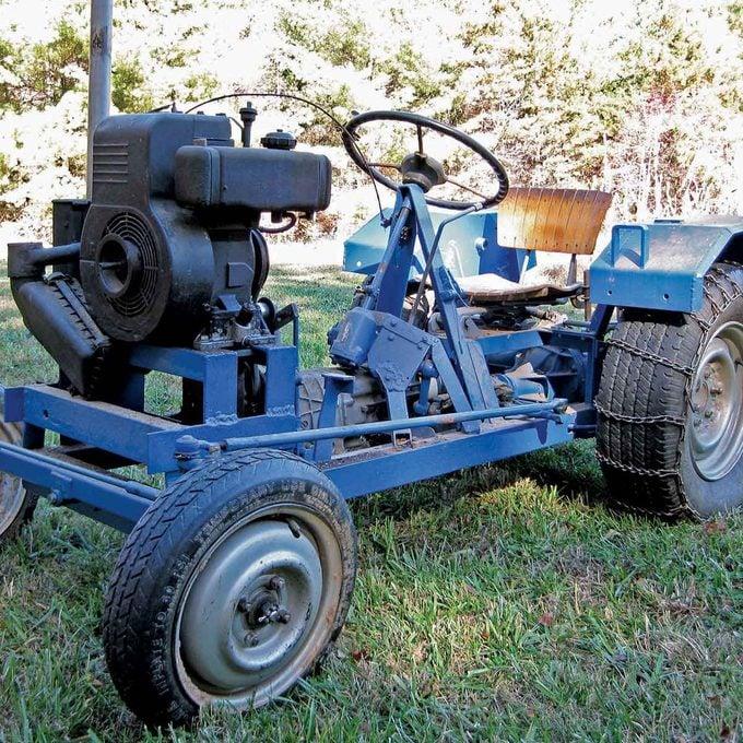 garden tractor built with junk car parts
