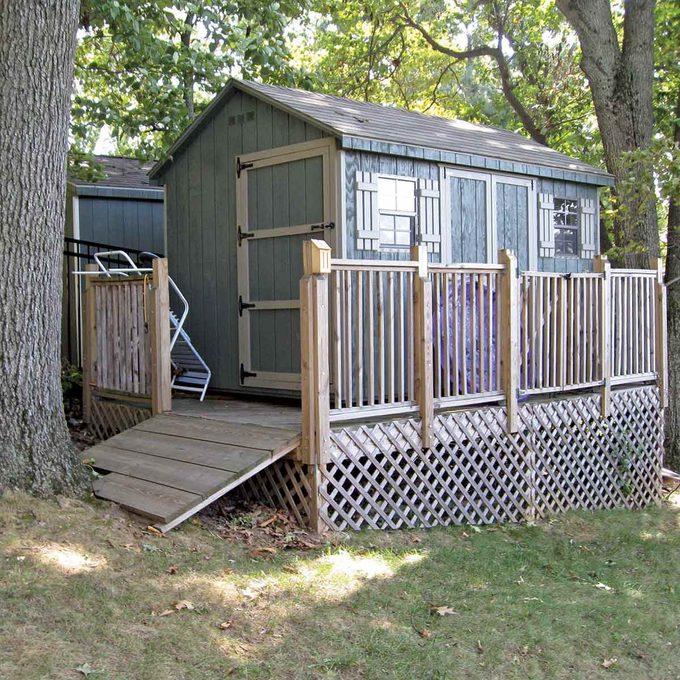 storage shed built on platform