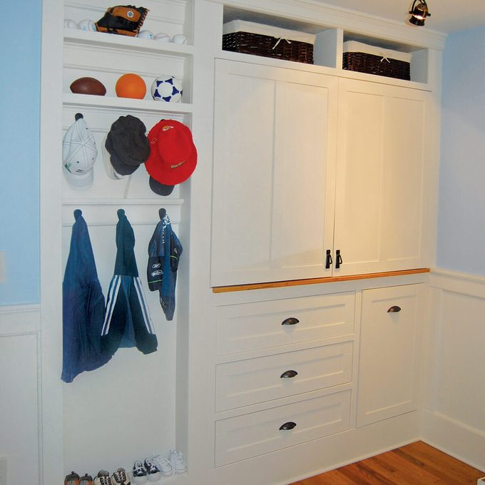 Closet transformed into built in cabinet