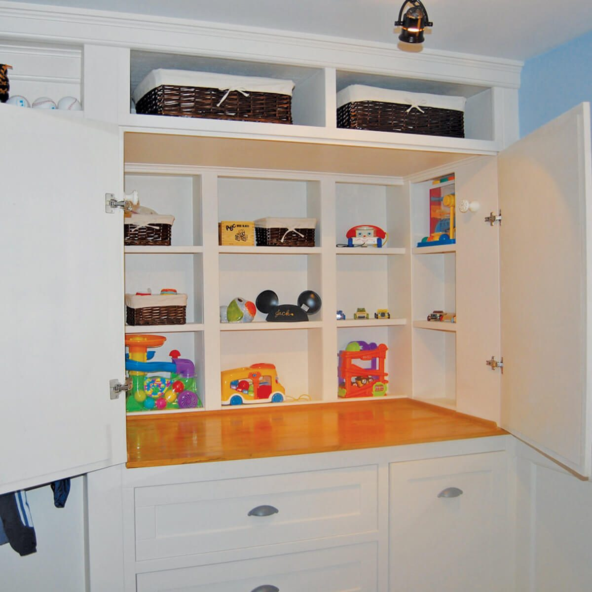 inside closet turned cabinet