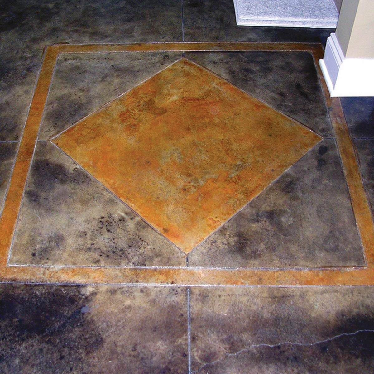 Concrete stained patterned floor