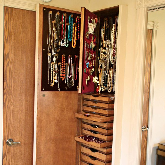 built in wall jewelry cabinet