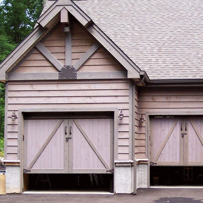 Carriage house garage doors that are not fully closed