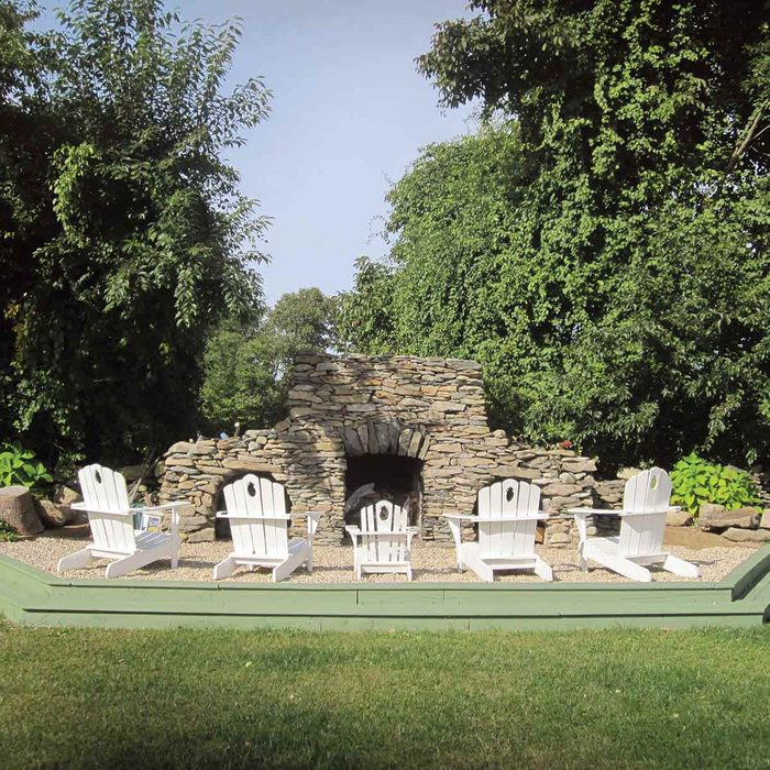 Massive Backyard Stone Fireplace