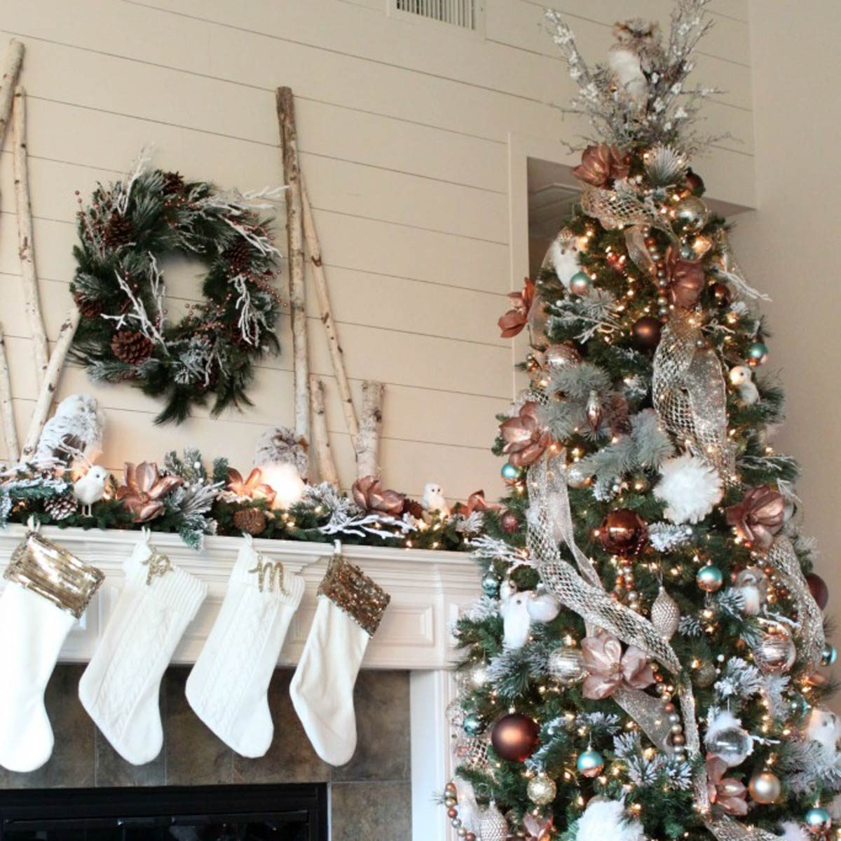 glam metallic farmhouse christmas tree - Christmas Trees At Michaels
