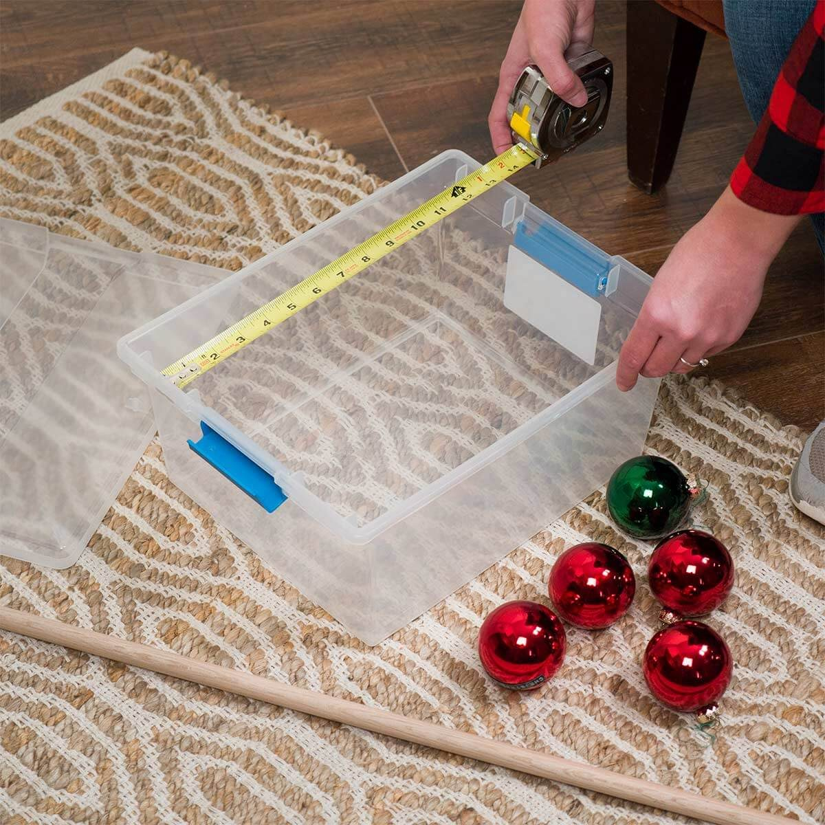 measure bin for storing ornaments