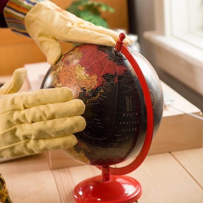 use garden gloves for dusting small items