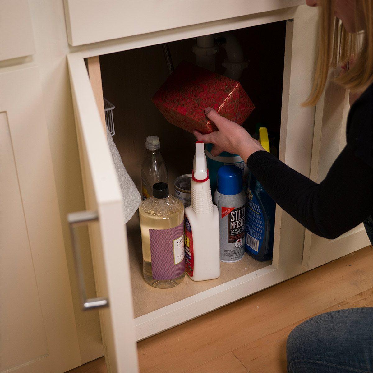 hiding gift under sink behind cleaning supplies