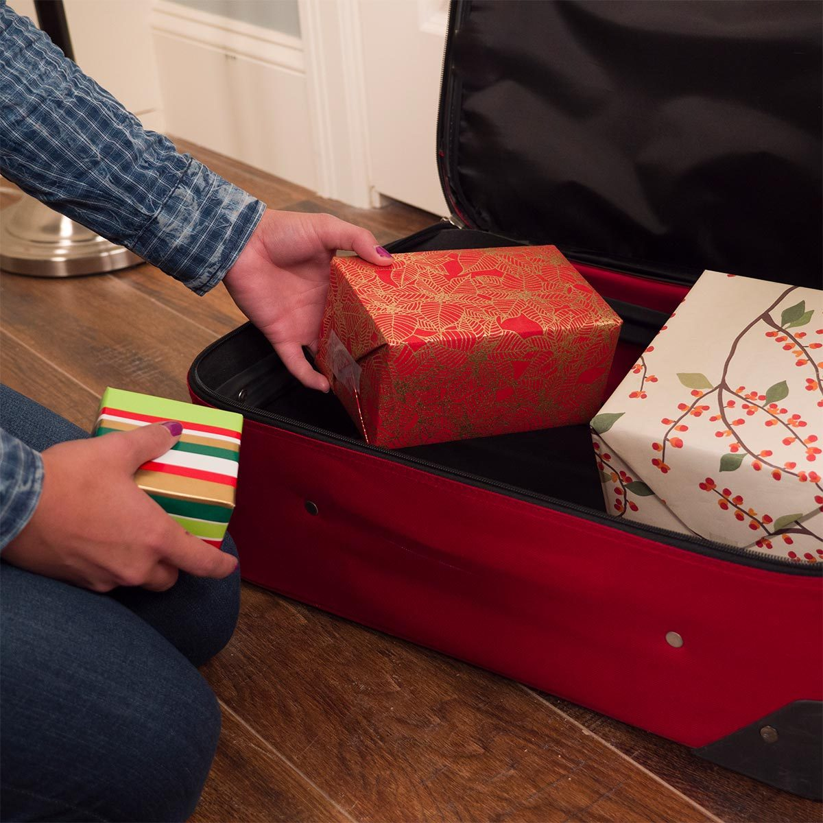 hiding gifts in a suitcase