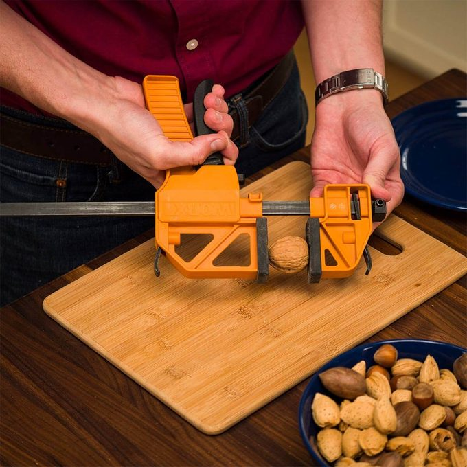 cracking nuts with ratcheting bar clamp