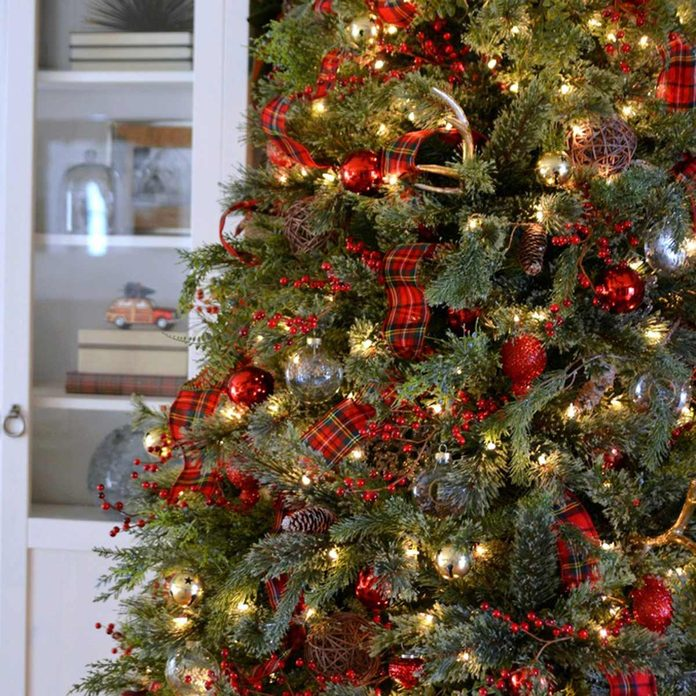 Traditional Red Tartan Plaid Christmas Tree