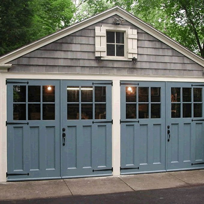 painted garage door cedar shakers