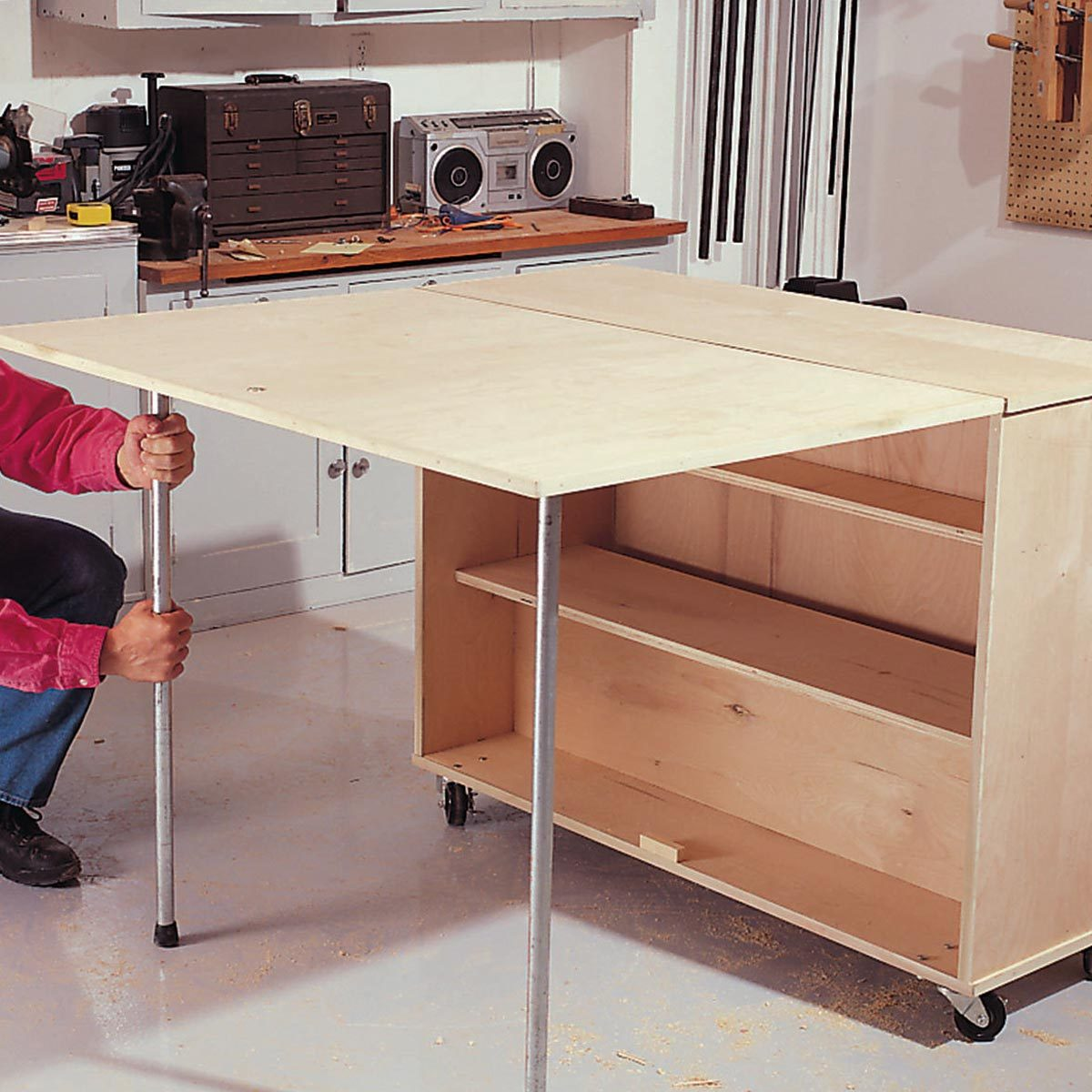Fold-Out Storage Table