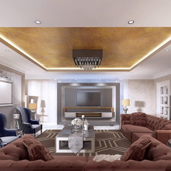 metallic living room ceiling_508594411