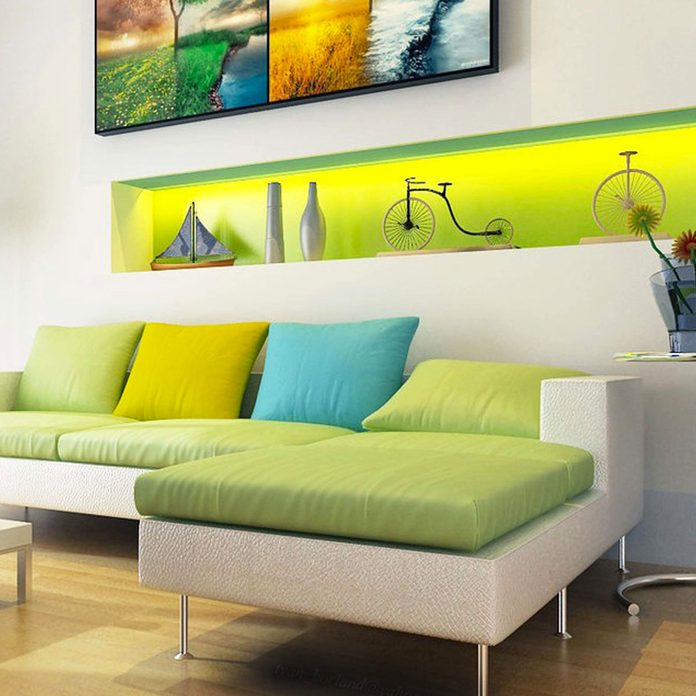 painted accent wall living room