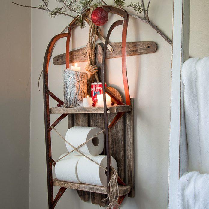 sleigh-shelf-7344 christmas bathroom decor sled