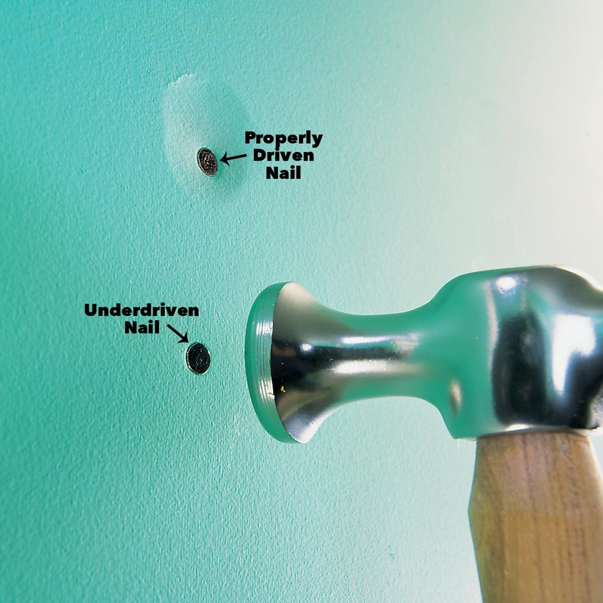 Tap nails slightly below the drywall face