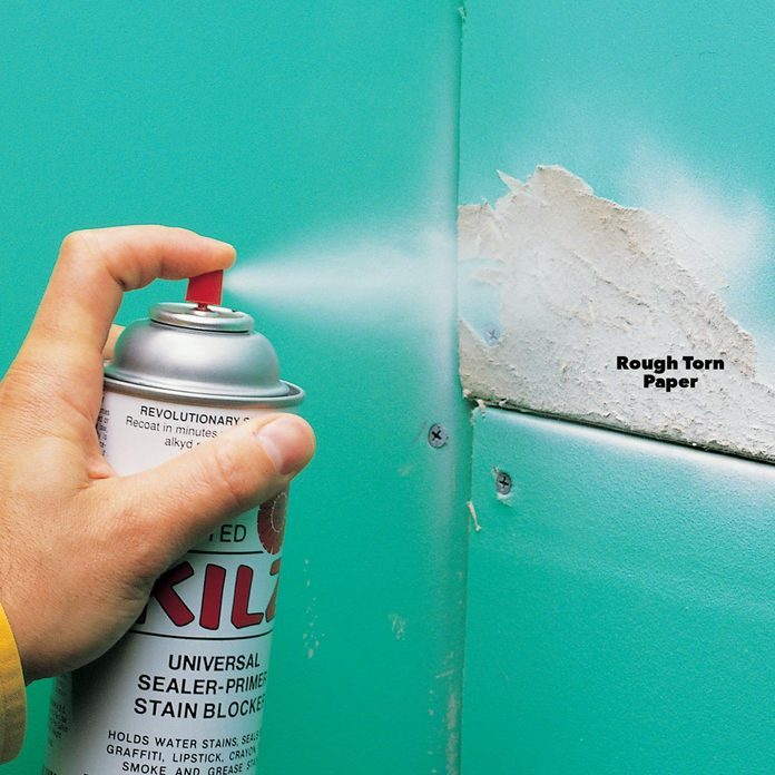 Spray a stain-blocking primer drywall tips
