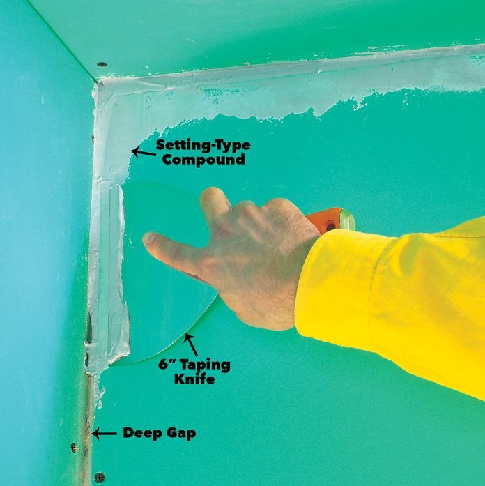 Fill deep gaps at drywall