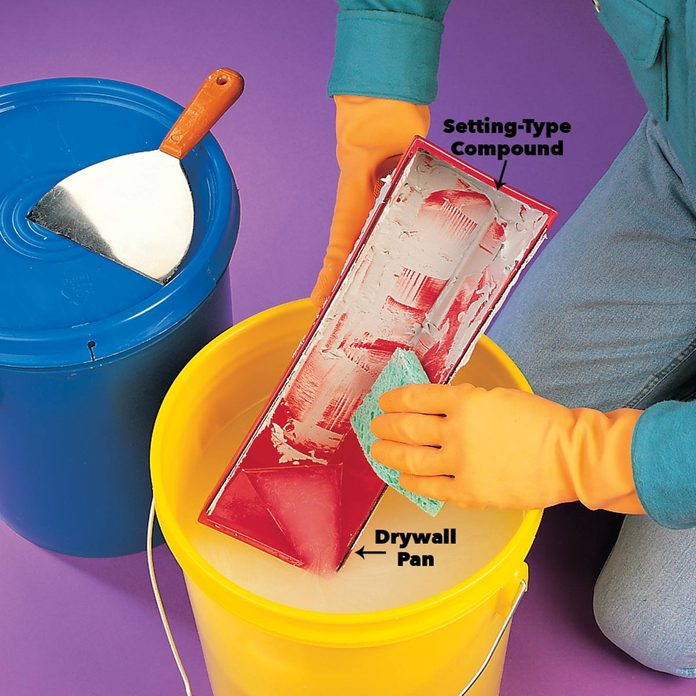 Clean your drywall mud pan and knife thoroughly