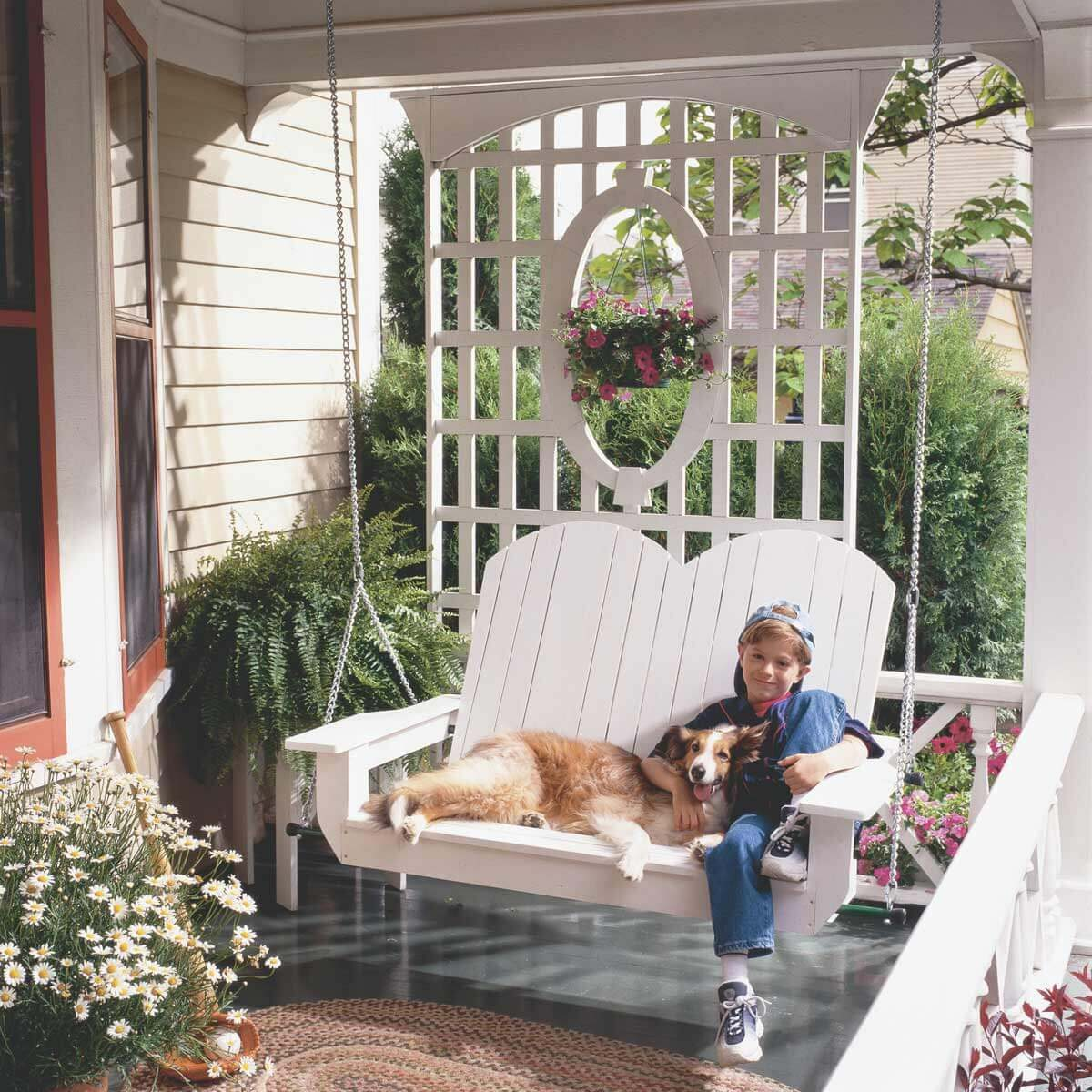 Front Porch Swings Farmhouse Exterior: 50 Incredible DIY Home Projects