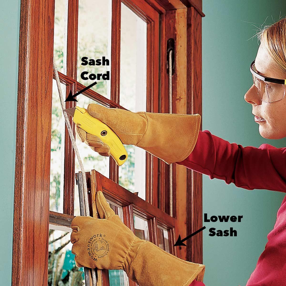 remove the lower sash