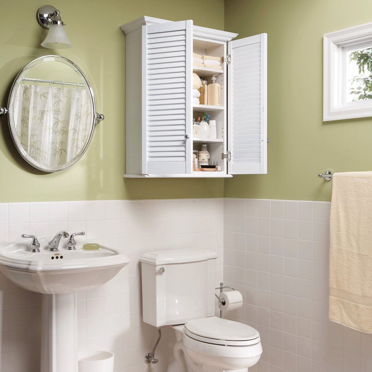 How to permanently anchor a bathroom towel bar family handyman make a super simple bath cabinet dailygadgetfo Choice Image