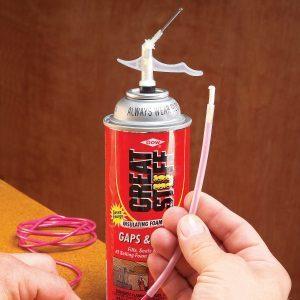 Spray foam tube cleaning