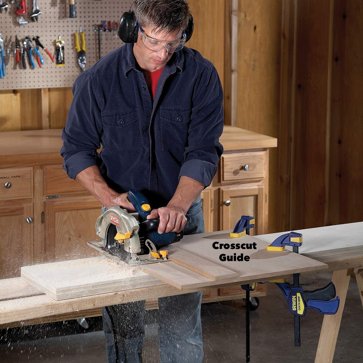 Box Diy Shelves The Family Handyman Ceiling Fan Wiring Diagram Blue Wire Sawing With A Guide