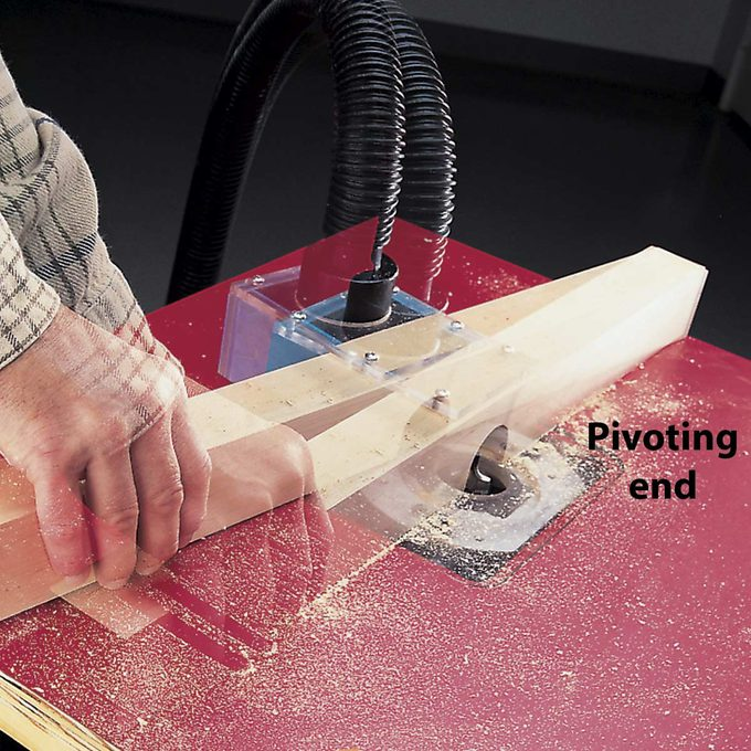 hinged router fence in action