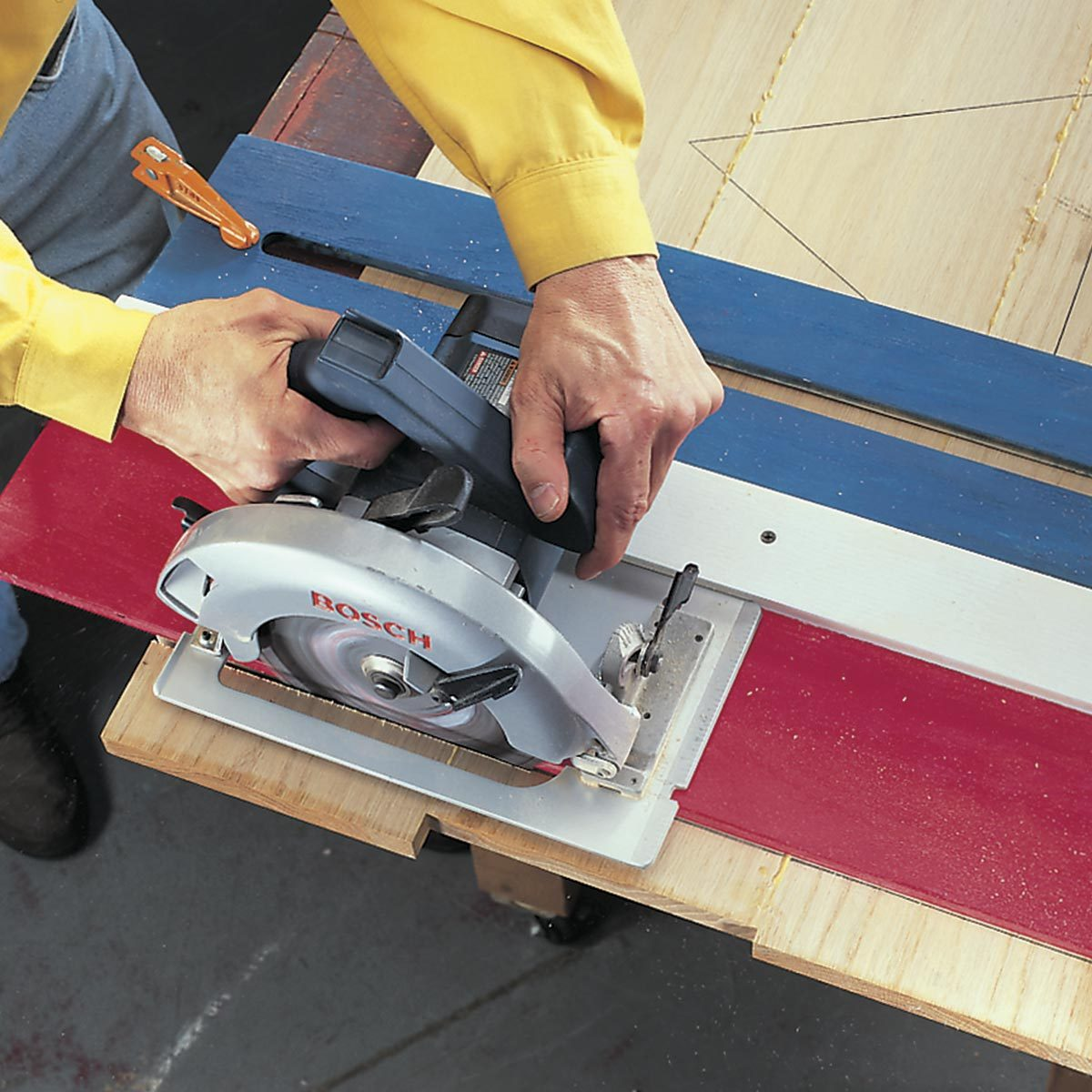 close up of cutting guide for router